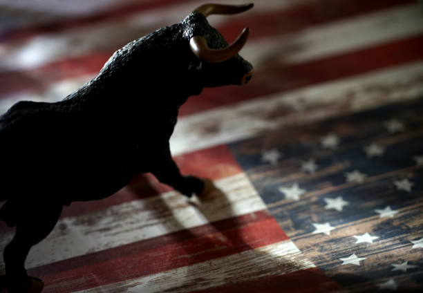 bull and bear market shot of bull and bear figurines bull market stock pictures, royalty-free photos & images