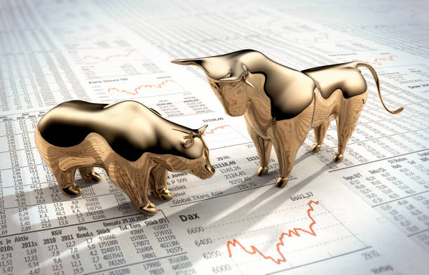 bull and bear on stock market prices - borsa foto e immagini stock