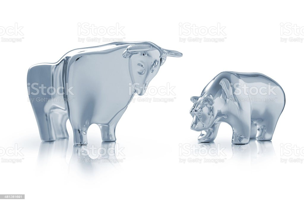 Bull and bear stock photo