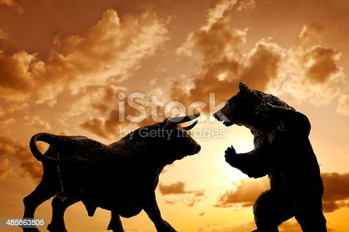 Bull and bear , symbolic beasts of market trend.