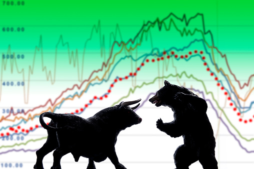 Bull and bear , symbolic beasts of market trend.