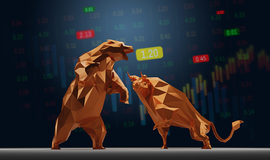 Bull and Bear Symbol with Stock Market Concept.