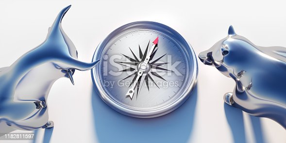 Close Up of Silver Bull and Bear looking at a Compass on white Background