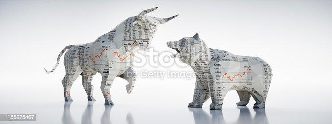Bulle und Bär in mit Börsenkurstexturen vor hellem Hintergrund