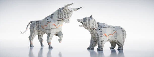 Bull and Bear-Concept Stock Exchange and Stock Market Bulle und Bär in mit Börsenkurstexturen vor hellem Hintergrund stock market stock pictures, royalty-free photos & images