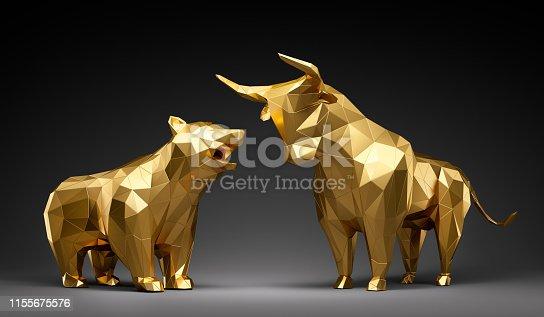 Goldener Bulle und Bär in low Poly Darstellung vor dunklem Hintergrund