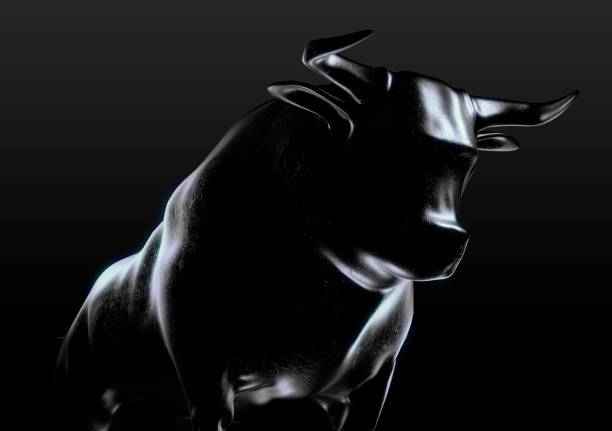 Bull Casting A sculpted casting depicting a bull in dramatic contrasting light representing financial market trends on an isolated dark background - 3D render bull market stock pictures, royalty-free photos & images