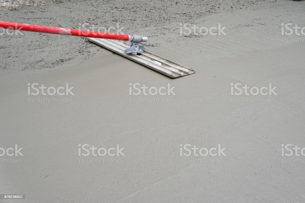 Bull Floating New Concrete Stock Photo - Download Image Now - iStock