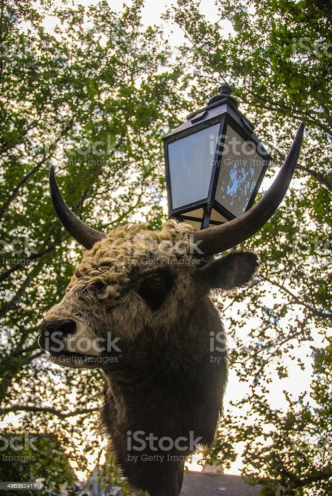 Bull Head Lamp Post stock photo