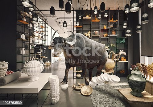 istock bull in a China shop. 1208763539