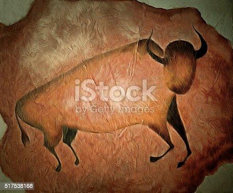 istock Bull like cave painting - primitive art 517538168