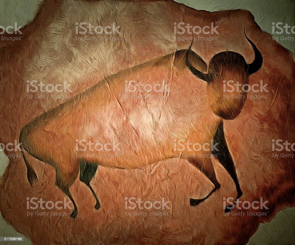 Bull like cave painting - primitive art stock photo