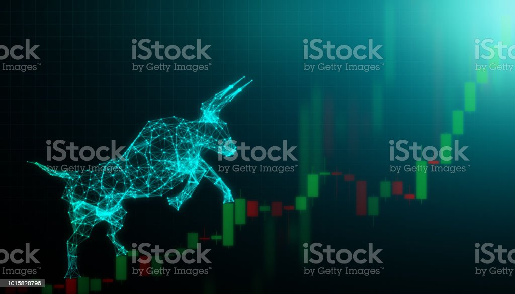Bull market, Financial and business concept royalty-free stock photo