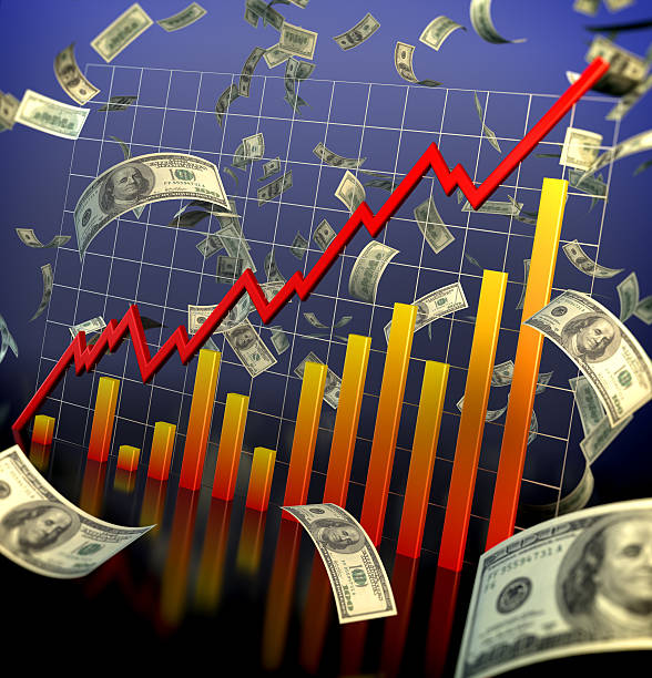 Bull Market - Financial Data and flying dollars stock photo