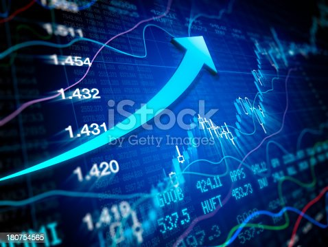 istock Bull Market - Financial Data with arrow 180754565
