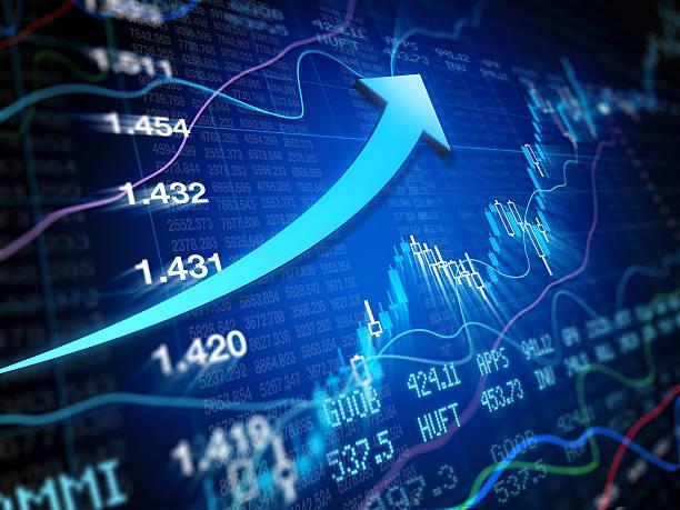 Bull Market - Financial Data with arrow stock photo