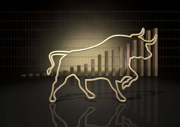 Bull Market Trend An abstract closeup of a gold outline depicting a stylized bull representing financial market trends on a bar graph background bull market stock pictures, royalty-free photos & images