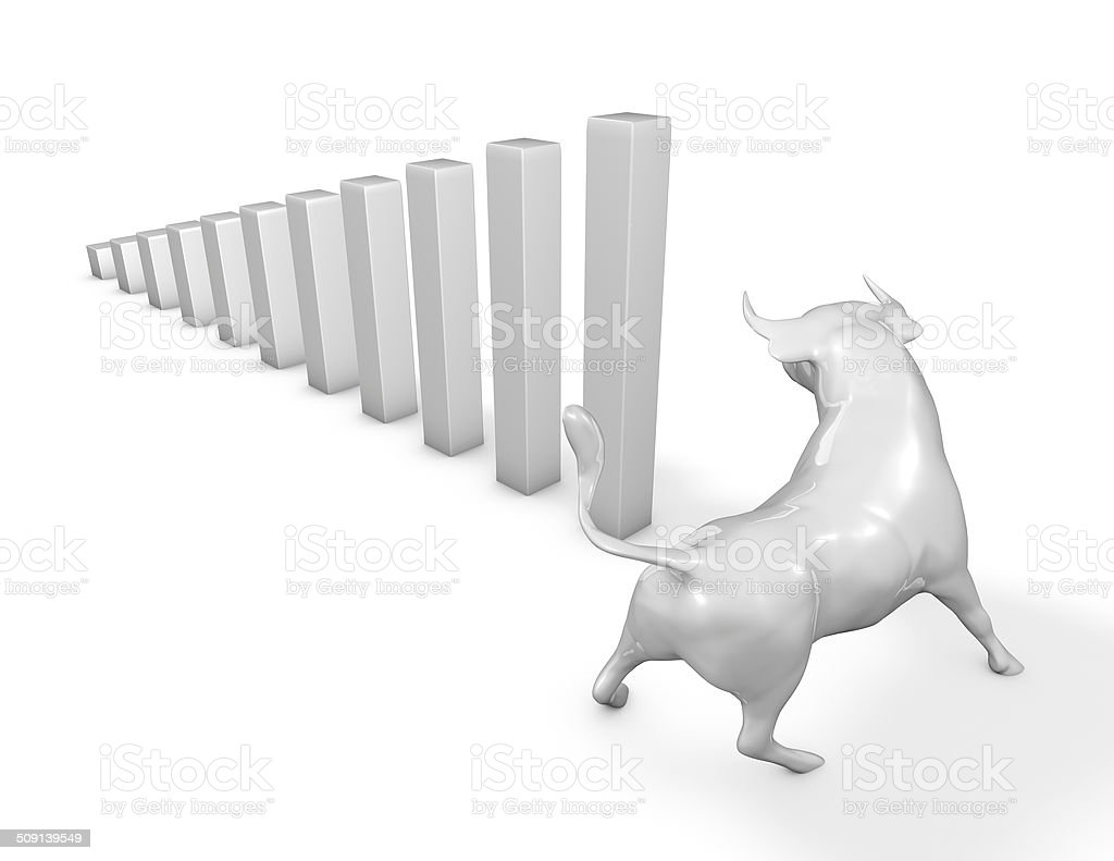 bull market with graph going up, prosperity concept stock photo