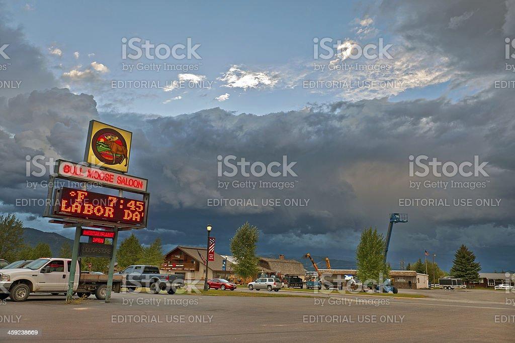 Bull Moose Saloon in Alpine City, Wyoming USA royalty-free stock photo