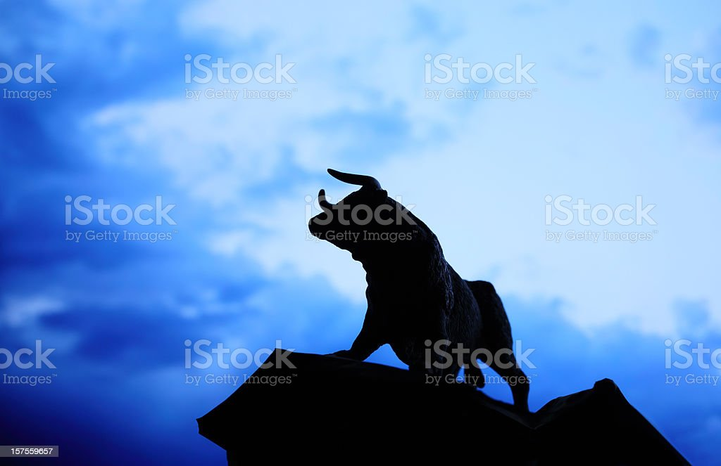 Bull Statue Silhouette stock photo