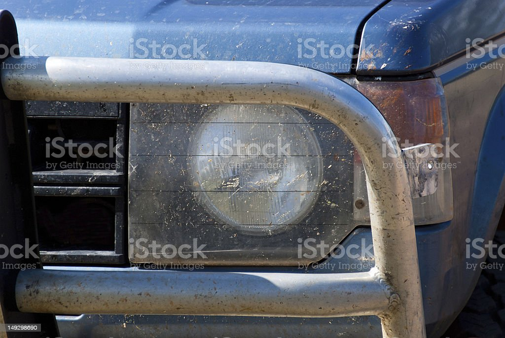 Bullbar Steelframe In Front Of 4x4 stock photo