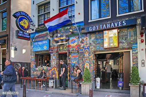 136699912 istock photo Bulldog coffeeshop on street in Amsterdam, Netherlands. 843404220