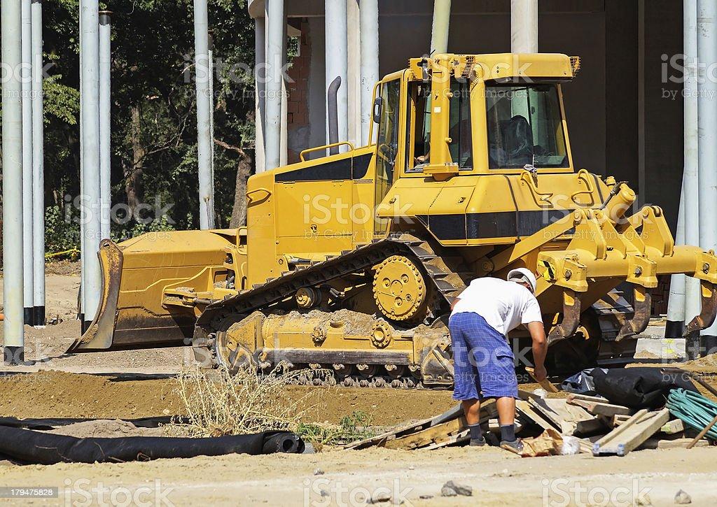 bulldozer at the construction royalty-free stock photo