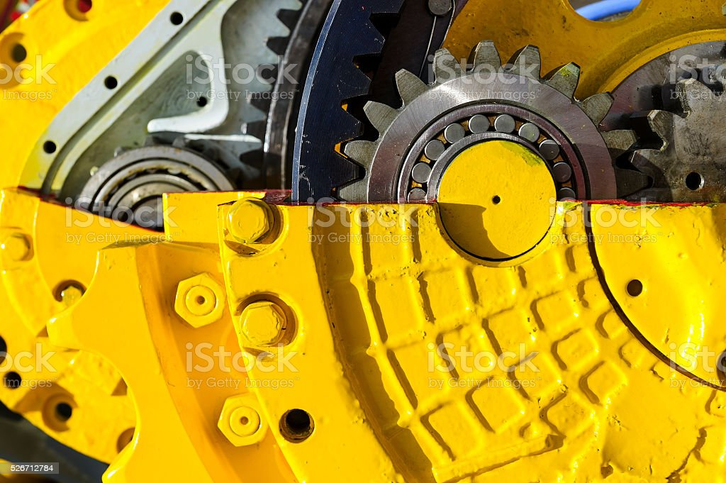 Bulldozer drive gear mechanism stock photo