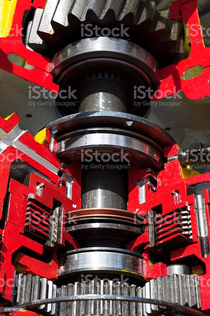Bulldozer drive gear mechanism stock photo