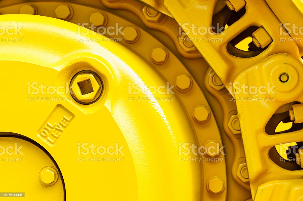 Bulldozer drive gear stock photo