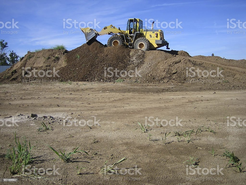 Bulldozer in a gravel pit royalty-free stock photo