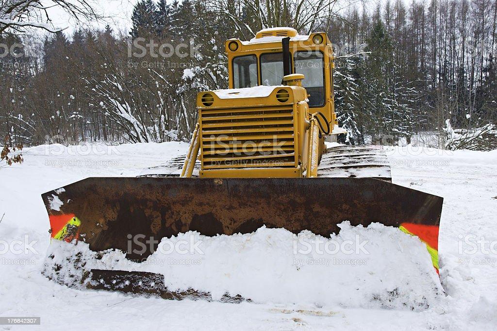 Bulldozer in the winter royalty-free stock photo
