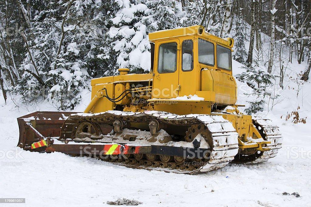 Bulldozer in the winter stock photo