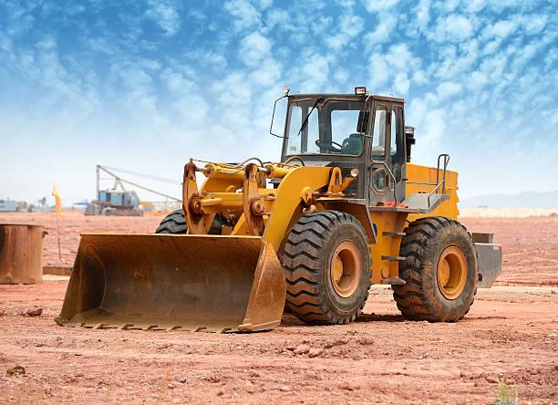 Bulldozer Lader Maschine während earthmoving works – Foto