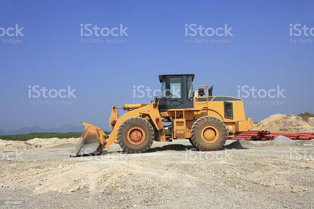 Bulldozer on a building site stock photo