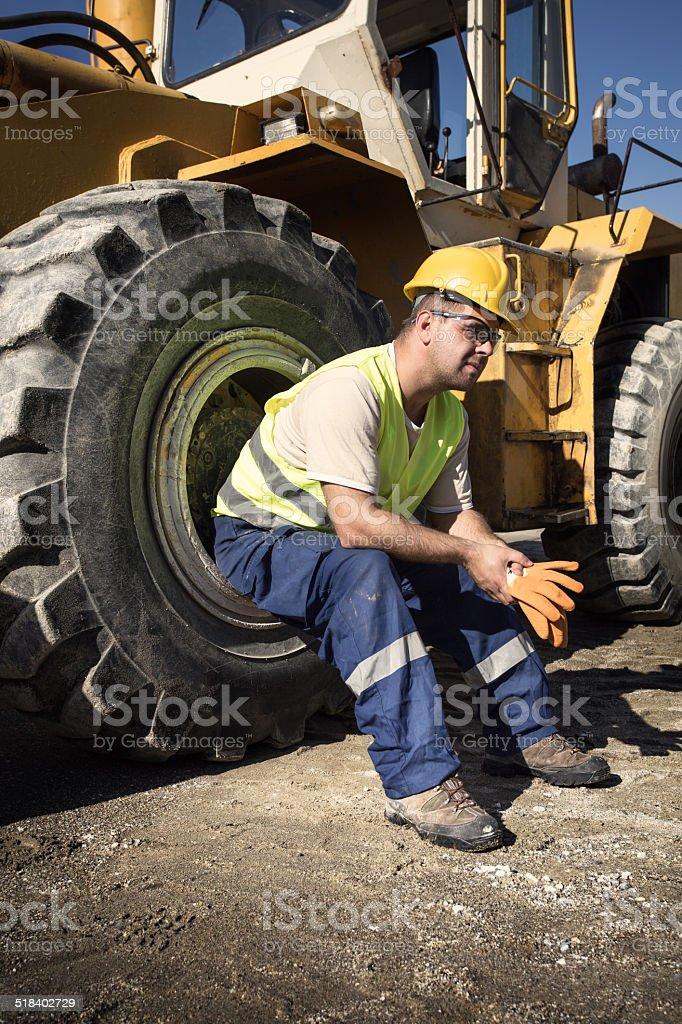 Bulldozer operator stock photo