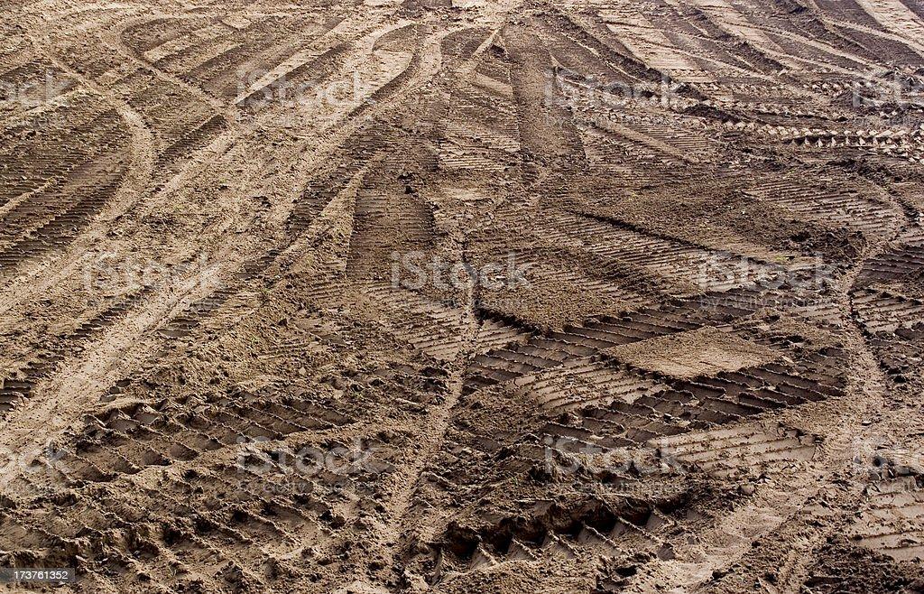 Bulldozer Tracks in Dirt stock photo