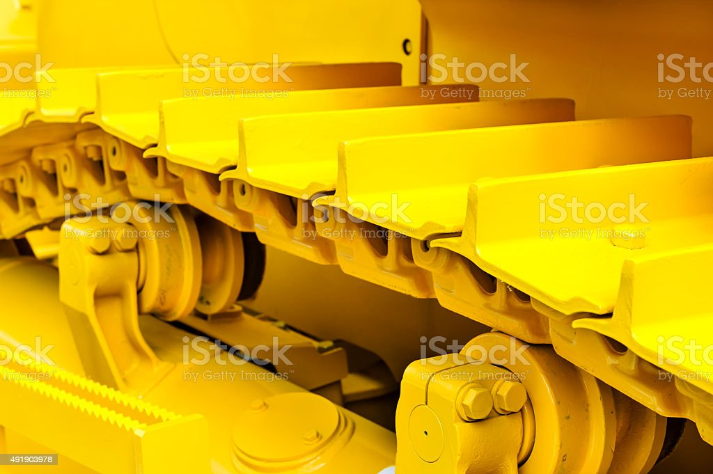 Bulldozer tracks stock photo