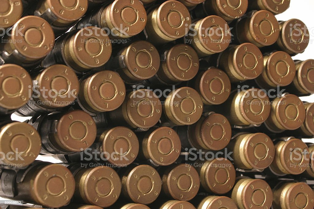 Bullet Butts - Unfired Belt Ammunition royalty-free stock photo