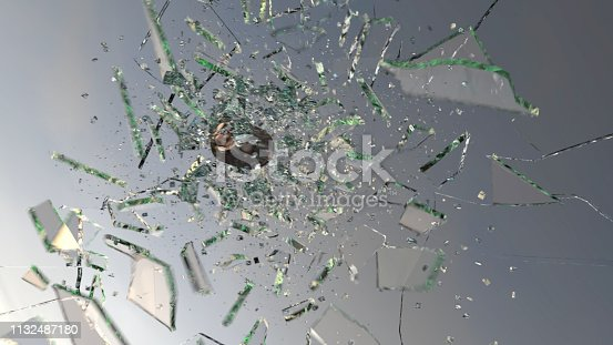 Bullet going through glass in slow motion