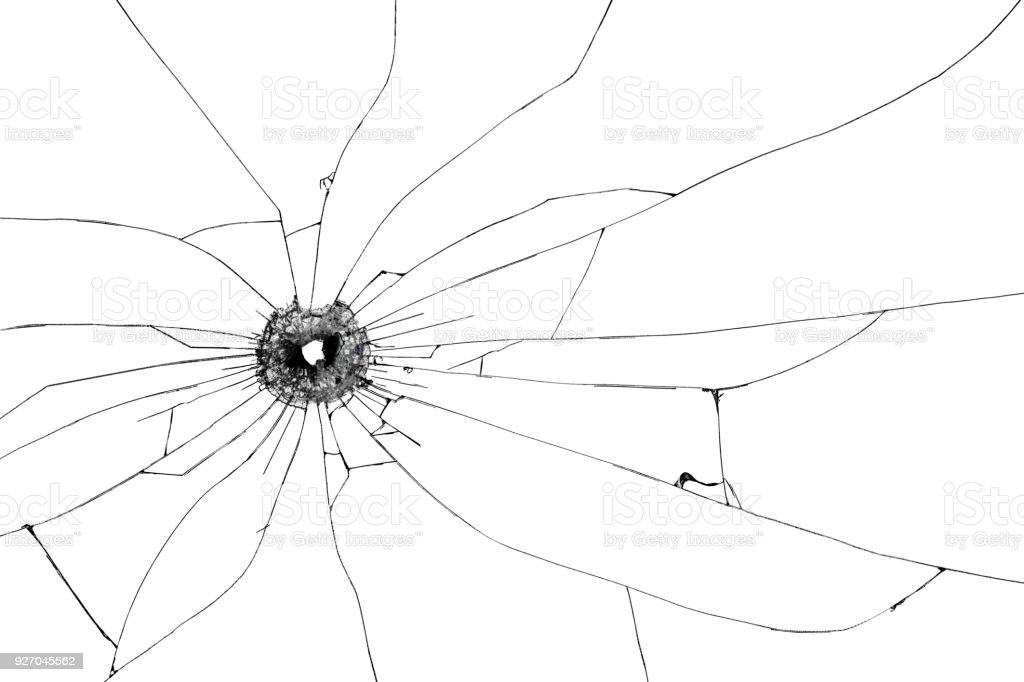Bullet hole broken glass isolated on white background. Cut out. stock photo