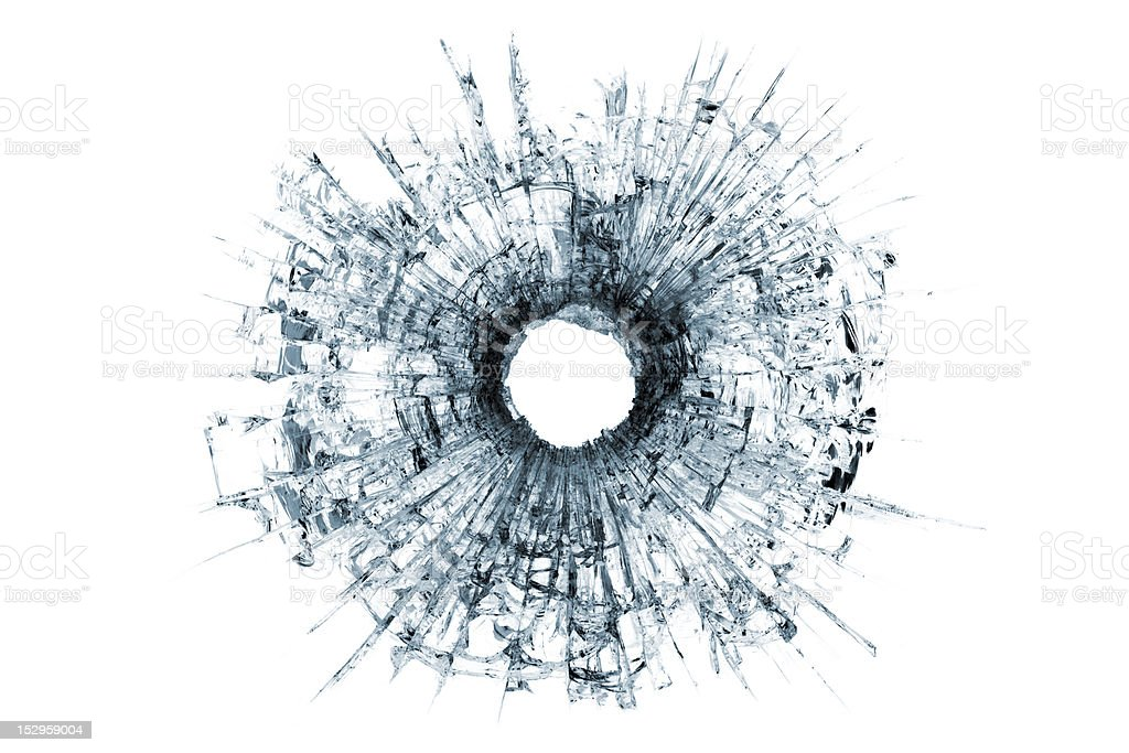 bullet hole in glass isolated on white stock photo