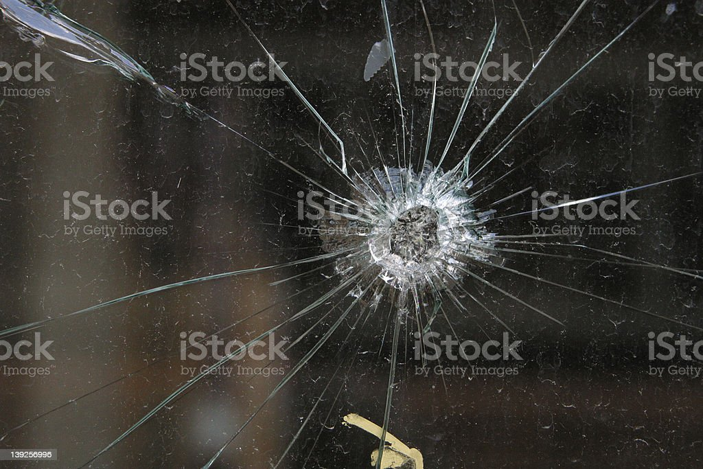 Bullet Hole in glass royalty-free stock photo