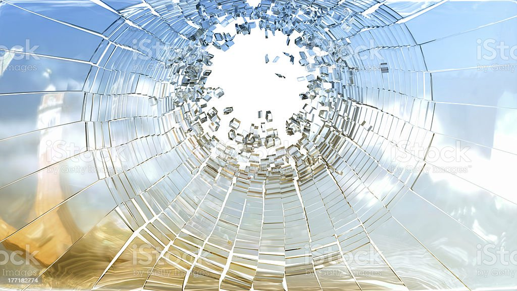 Bullet hole: pieces of shattered glass royalty-free stock photo