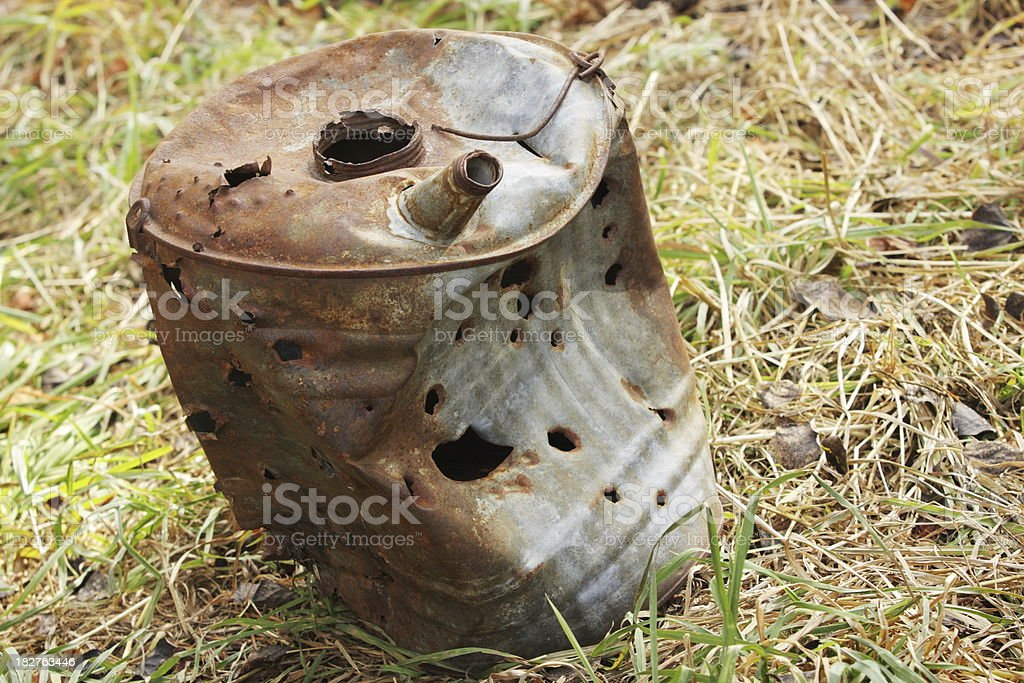 Bullet Hole Rusted Can royalty-free stock photo