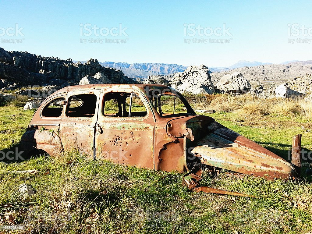 Bullet hole, rusty, wreck, car, Cederberg, rural, outdoors,abandoned, stock photo