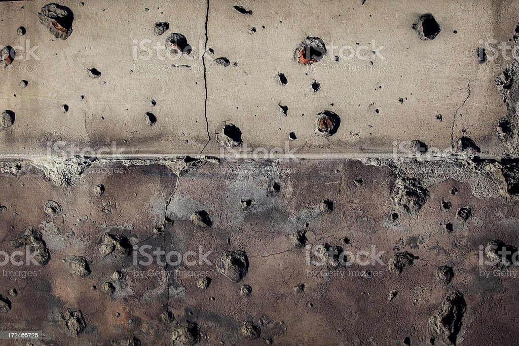 Bullet hole wall stock photo