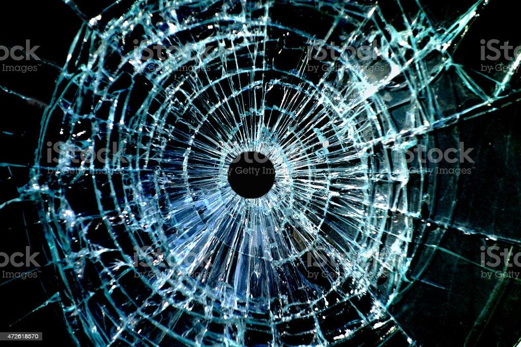 Bullet hole window stock photo