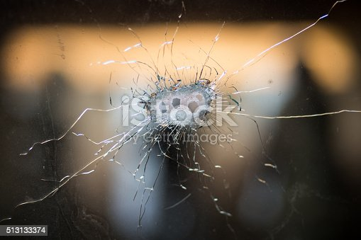 istock Bullet holes in a front windshield 513133374
