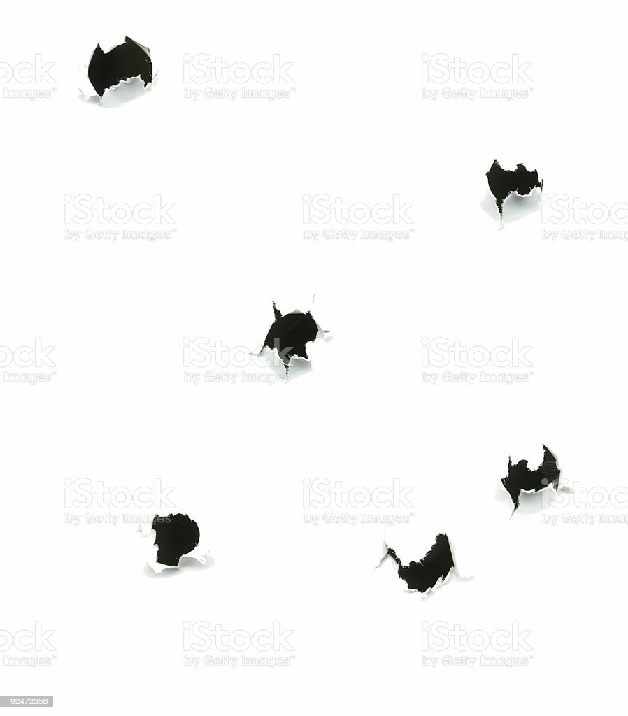 Bullet Holes on White Background - Extroverted royalty-free stock photo